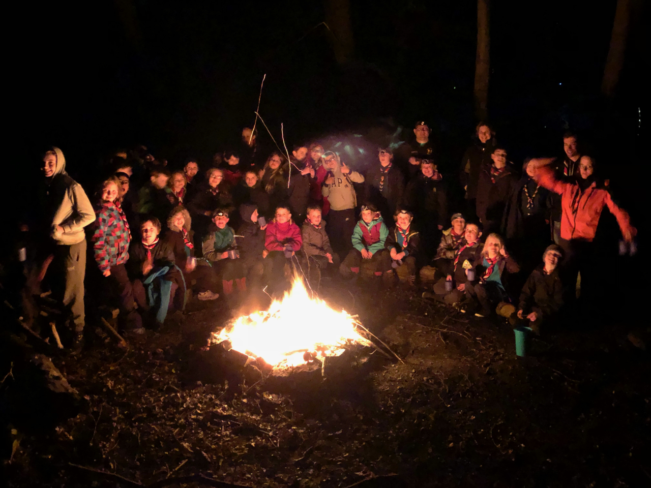 Billesley Scout Group around the Camp Fire