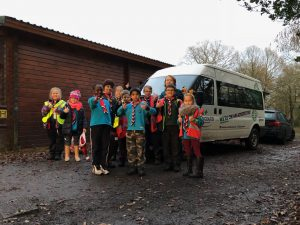 Cubs and Beavers standing in front of the Group Minibus