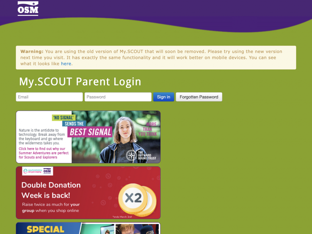 The old My.SCOUT portal