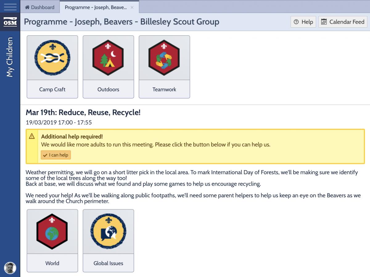 Parent Rota Request on OSM Parent Portal