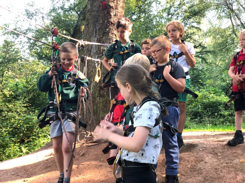 Cubs setting up for a Tyrolean Traverse